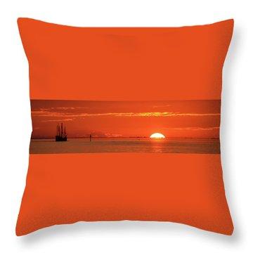 Christopher Columbus Sailing Ship Nina Sails Off Into The Sunset Panoramic Throw Pillow