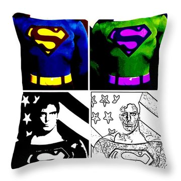 Christopher Reeve - Our Man Of Steel 1952 To 2004 Throw Pillow by Saad Hasnain