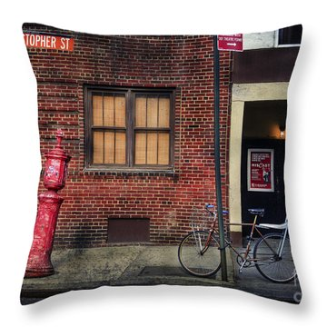 Throw Pillow featuring the photograph Christopher St. Bicycle by Craig J Satterlee