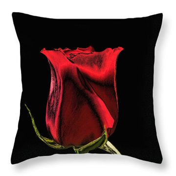 Chromatic Rosebud Throw Pillow by Kristin Elmquist