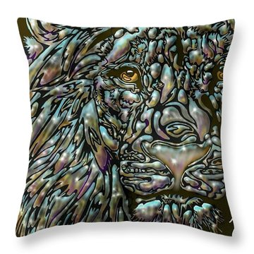 Chrome Lion Throw Pillow