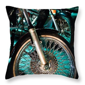 Throw Pillow featuring the photograph Chrome Rim And Front Fork Of Vintage Style Motorcycle by Jason Rosette