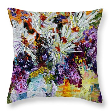 Chrysanthemums And Lilacs Still Life Throw Pillow