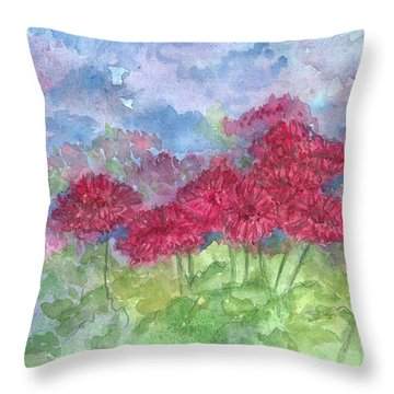 Throw Pillow featuring the painting Chrysanthemums by Cathie Richardson