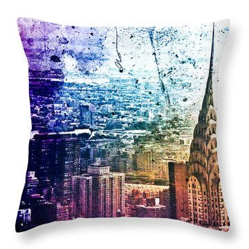 Chrysler Building - Colorful - New York City Throw Pillow by Vivienne Gucwa