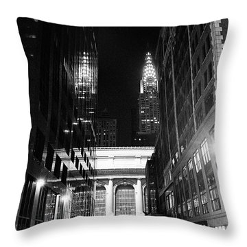 Throw Pillow featuring the photograph Chrysler Night Library by Dave Beckerman