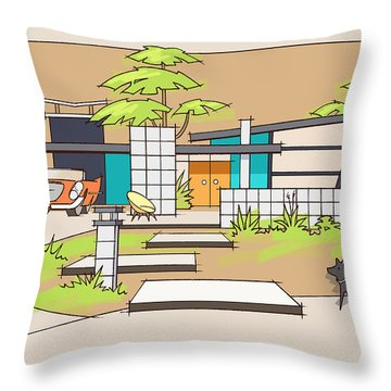 Chrysler With Black Dog, A Mid-century Home Throw Pillow