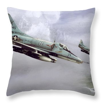 Chu Lai Skyhawks Throw Pillow by Peter Chilelli