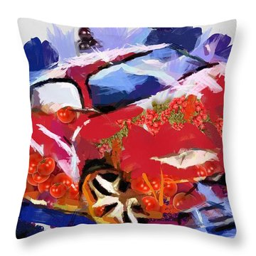 Chubby Car Red Throw Pillow by Catherine Lott