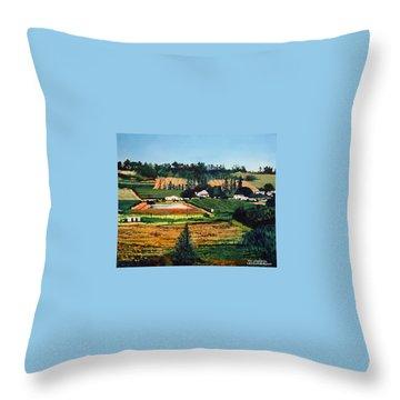 Chubby's Farm Throw Pillow by Tim Johnson
