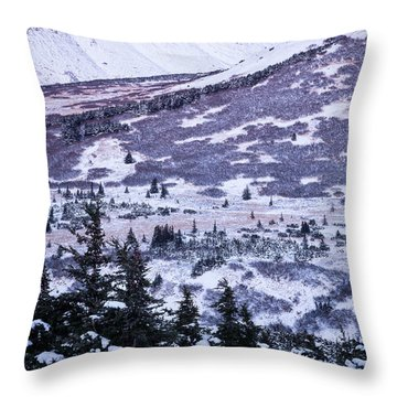 Chugach In Alpenglow Throw Pillow