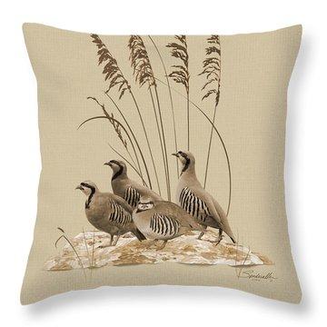 Chukar Partridges Throw Pillow