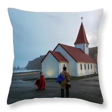 Throw Pillow featuring the photograph Church Above Reynisfjara Black Sand Beach, Iceland by Dubi Roman