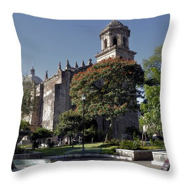 Church And Fountain Guadalajara Throw Pillow by Jim Walls PhotoArtist