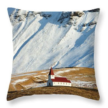 Throw Pillow featuring the photograph Church And Mountains In Winter Vik Iceland by Matthias Hauser