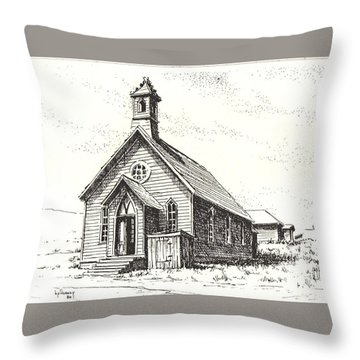 Church Bodie Ghost Town California Throw Pillow by Kevin Heaney