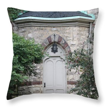 Church Door Throw Pillow by Lauri Novak