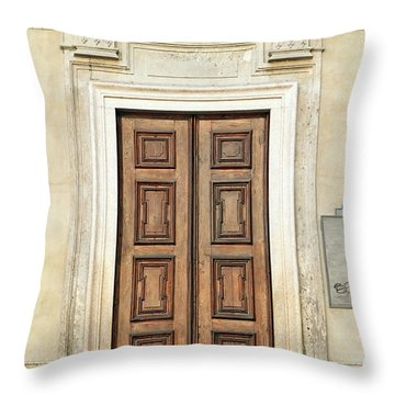 Church Door Throw Pillow by Valentino Visentini
