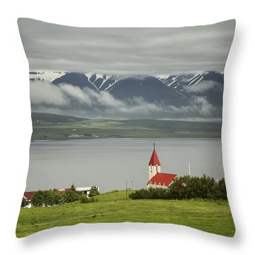 Church In Akureyri Throw Pillow