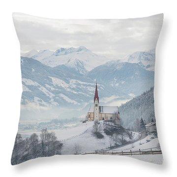 Church In Alpine Zillertal Valley In Winter Throw Pillow