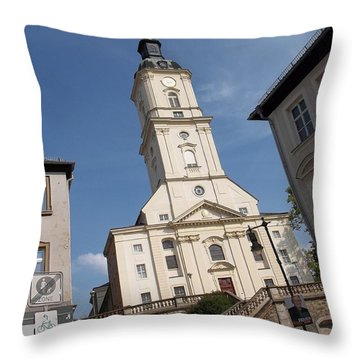Church In Gera Germany Throw Pillow by Deborah DeLaBarre