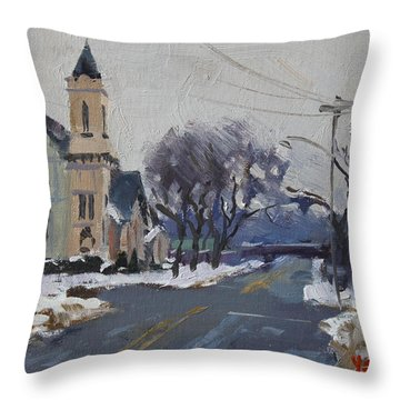 Church In North Tonawanda Throw Pillow