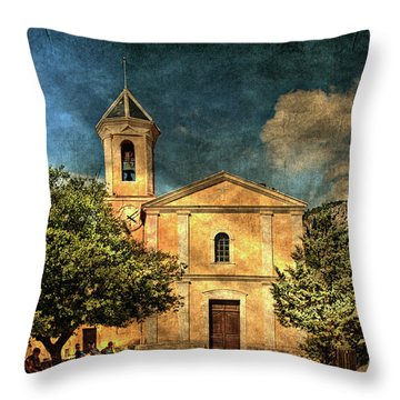 Church In Peillon Throw Pillow