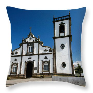Church In The Azores Throw Pillow by Gaspar Avila