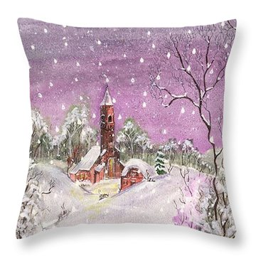 Church In The Snow Throw Pillow