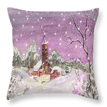 Church In The Snow Throw Pillow by Darren Cannell