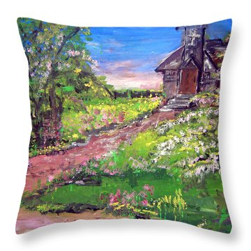 Church In The Woods Throw Pillow