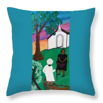 Church Ladies  Throw Pillow by Mildred Chatman