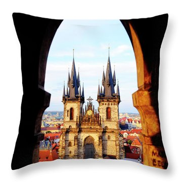 Throw Pillow featuring the photograph Church Of Our Lady Before Tyn by Fabrizio Troiani