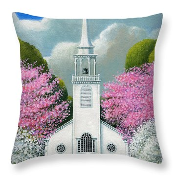 Church Of The Dogwoods Throw Pillow