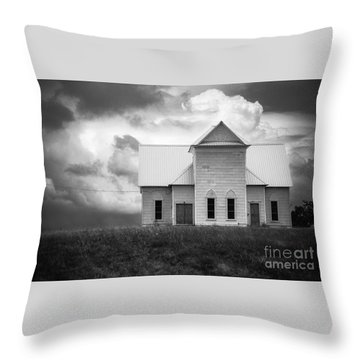 Church On Hill In Bw Throw Pillow