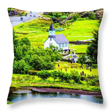 Church On The Green Throw Pillow