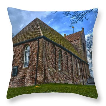 Church On The Mound Of Oostum Throw Pillow