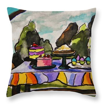 Church Picnic Throw Pillow by John Williams
