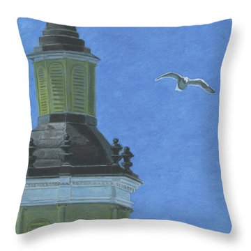 Church Steeple With Seagull Throw Pillow