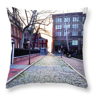 Church Street Cobblestones - Philadelphia Throw Pillow by Bill Cannon