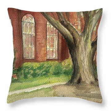 Throw Pillow featuring the painting Church Tree by Denise Fulmer