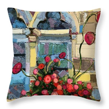 Throw Pillow featuring the painting Church Window by Carrie Joy Byrnes