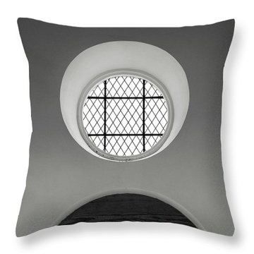 Church Window In Black And White Throw Pillow