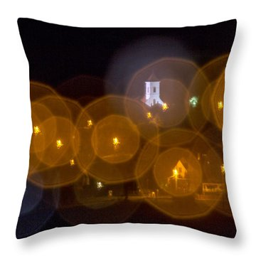 Church With Circle Bokeh Throw Pillow