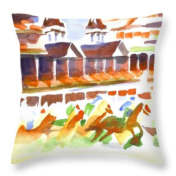 Churchill Downs Watercolor Throw Pillow