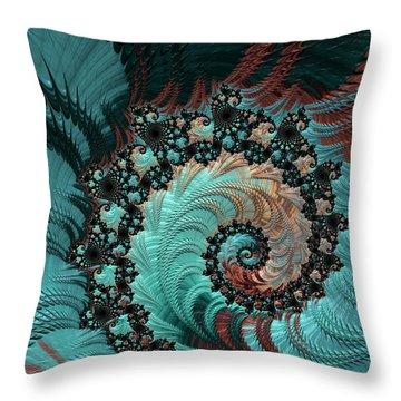 Throw Pillow featuring the digital art Churning Sea Fractal by Bonnie Bruno