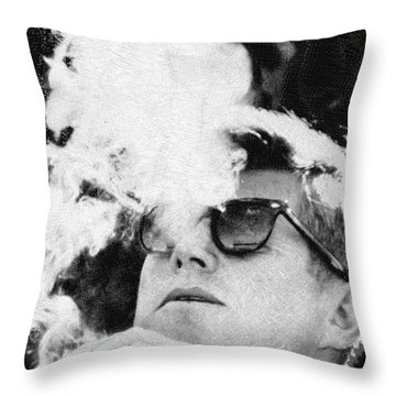 Cigar Smoker Cigar Lover Jfk Gifts Black And White Photo Throw Pillow