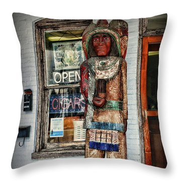 Throw Pillow featuring the photograph Cigar Store Indian by Paul Ward