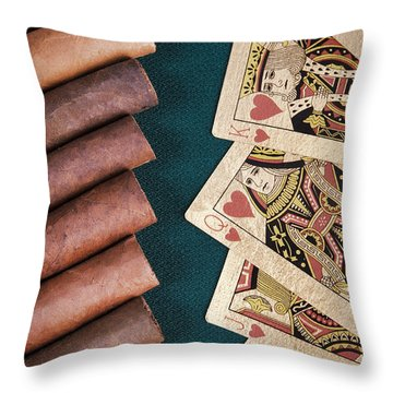 Throw Pillow featuring the photograph Cigars And Playing Cards  by Andrey  Godyaykin