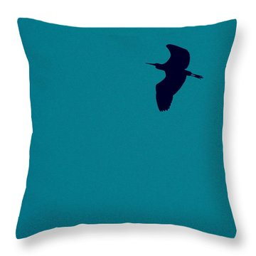 Throw Pillow featuring the digital art Cigogne En Silhouette by Marc Philippe Joly